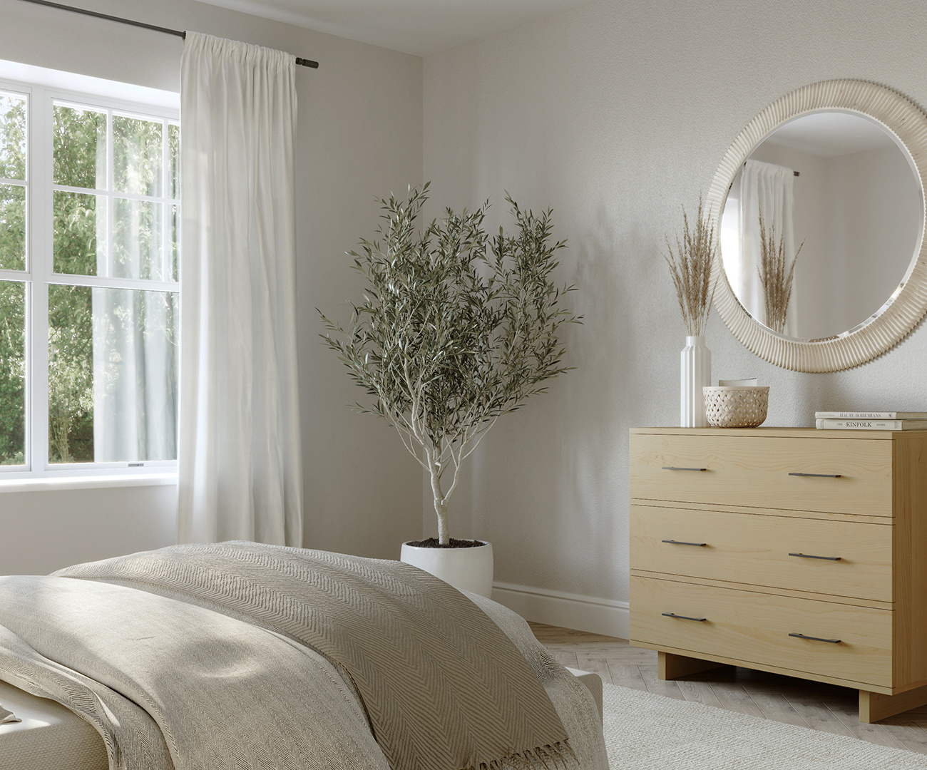 Contemporary bedroom with a modern maple solid wood Scandinavian dresser