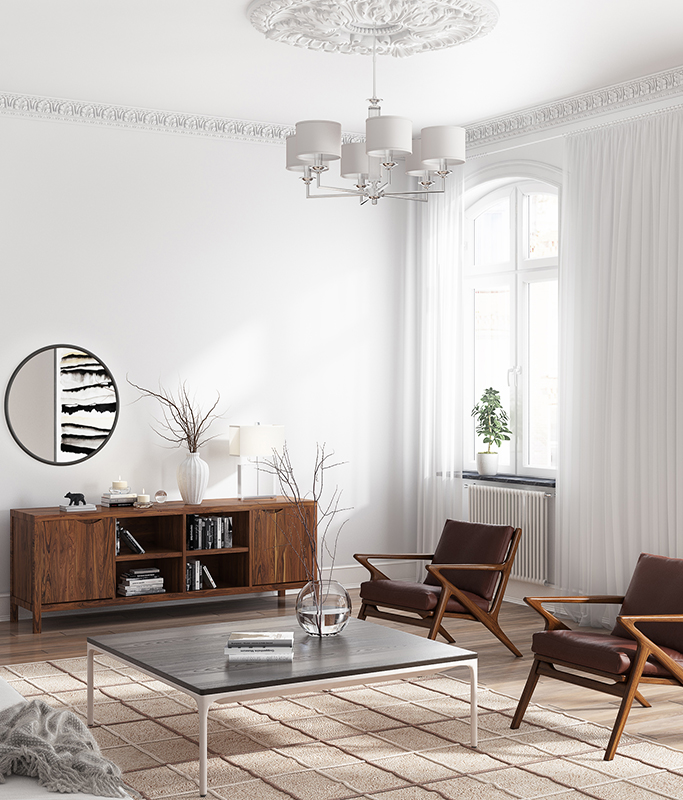 Scandinavian Walnut Wood Cabinet in a Traditional Living Room and Modern Chairs
