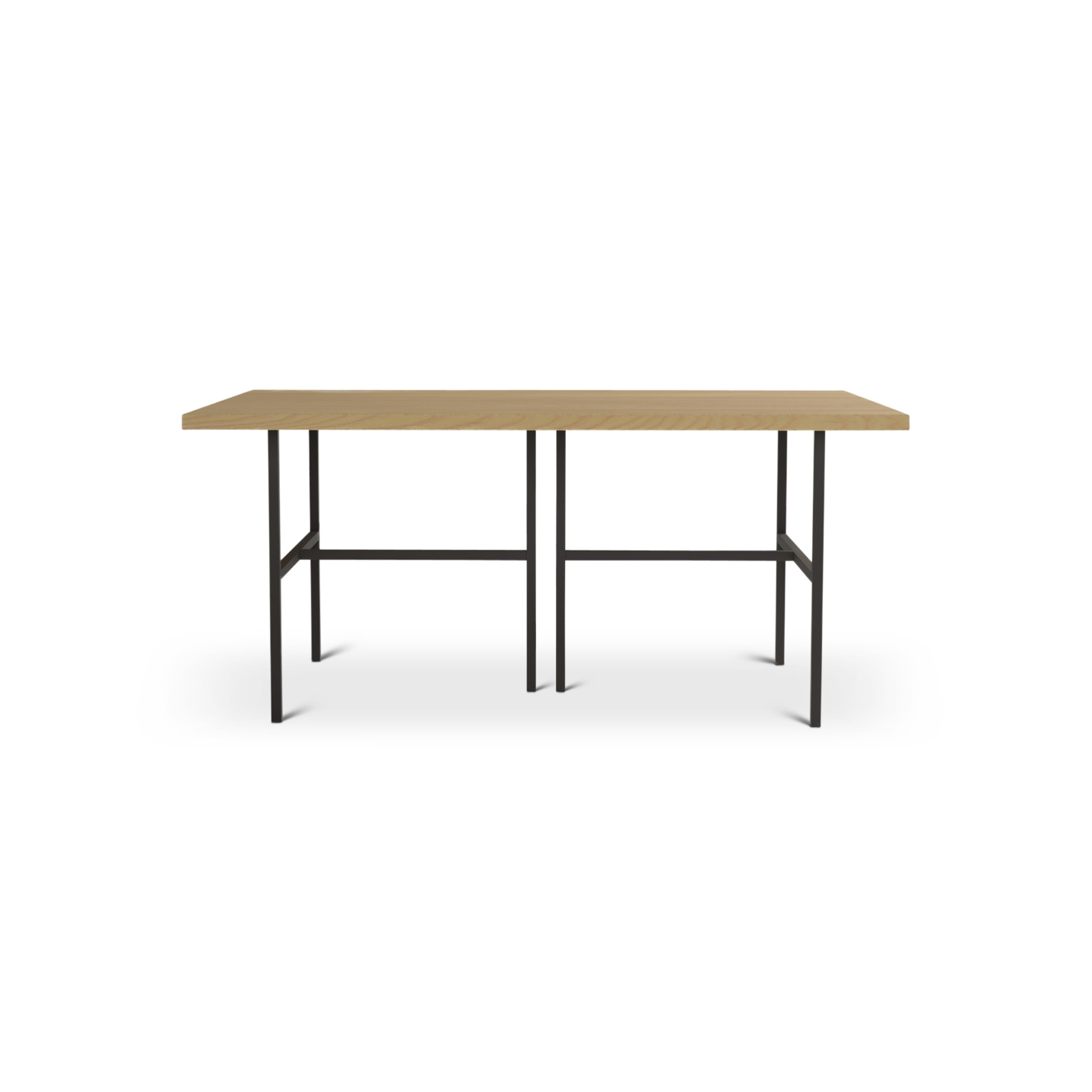Solid Ash dining room table with matte black legs