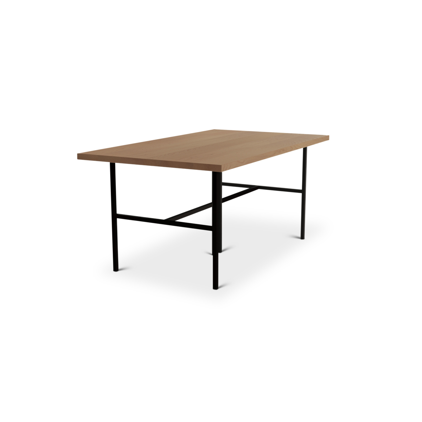 Solid cherry wood table with black metal legs