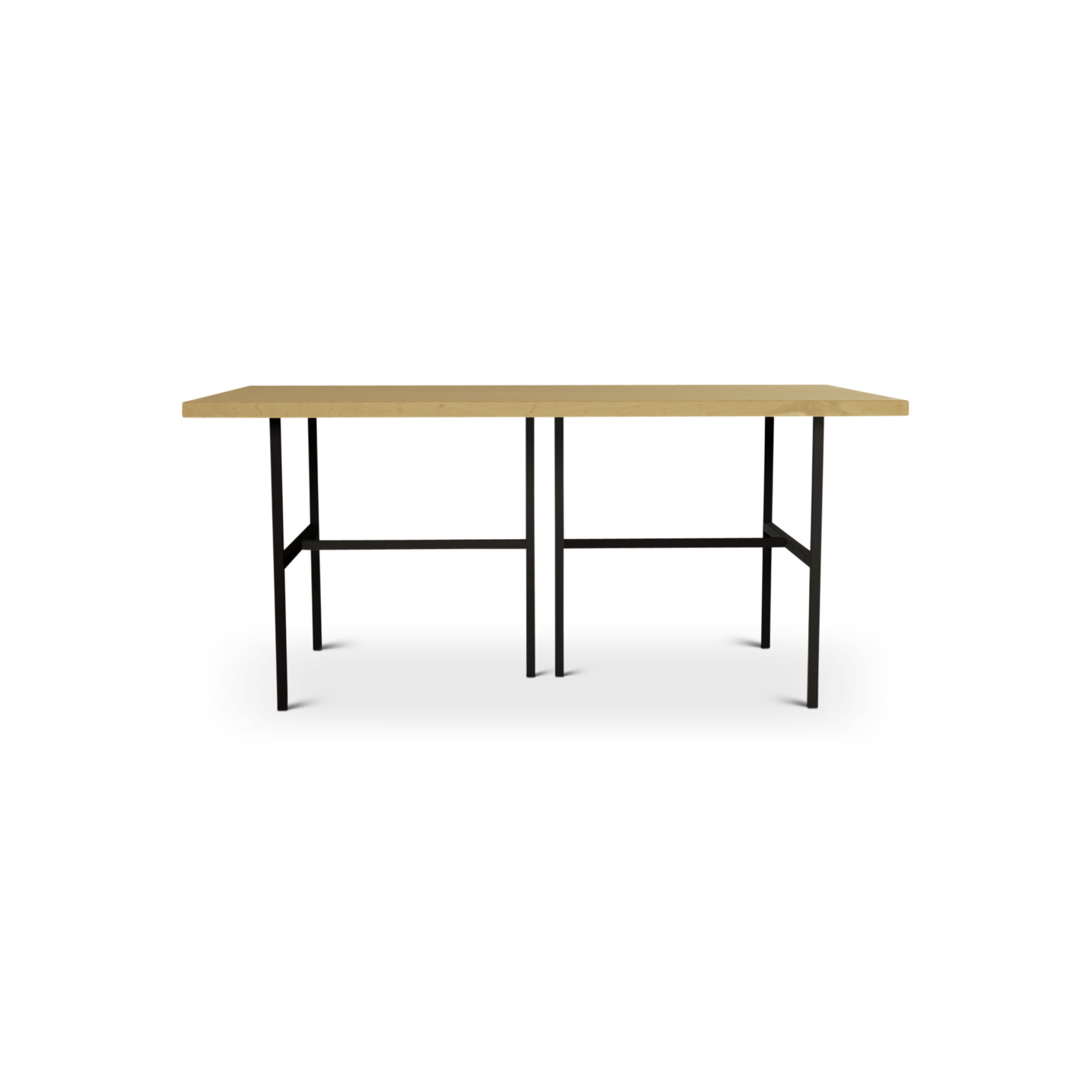 Solid maple kitchen table with black metal legs