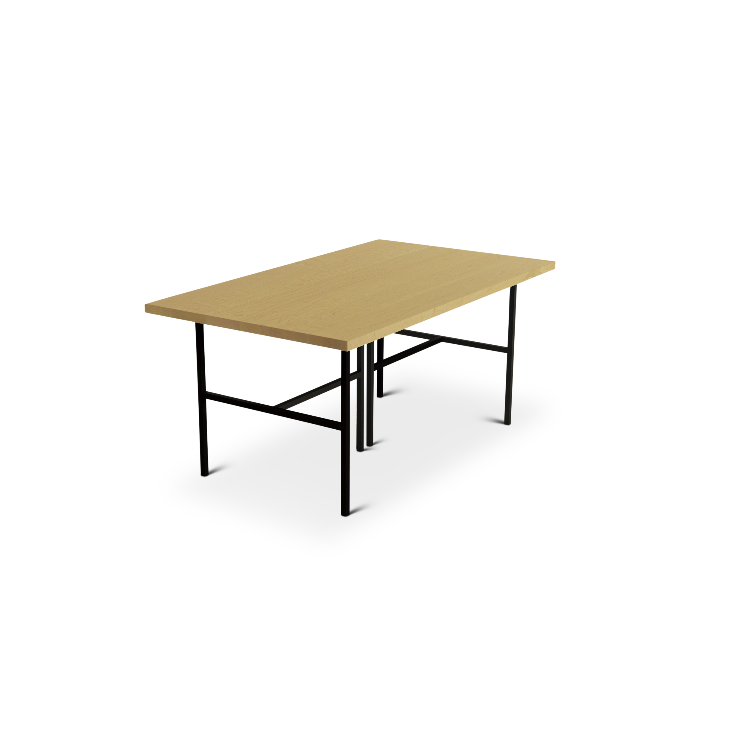 Solid Maple Modern Dining Room Table With Black Metal Legs