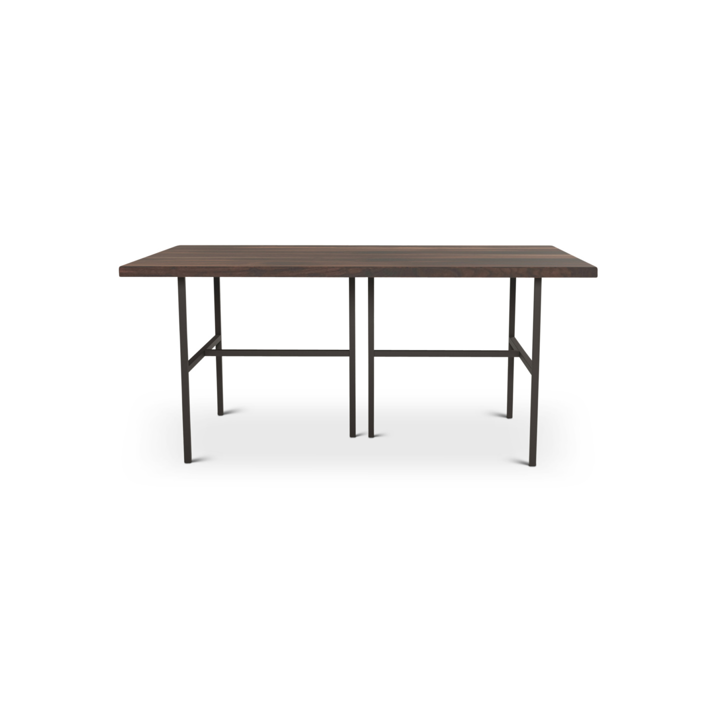 Modern solid walnut table on black metal legs