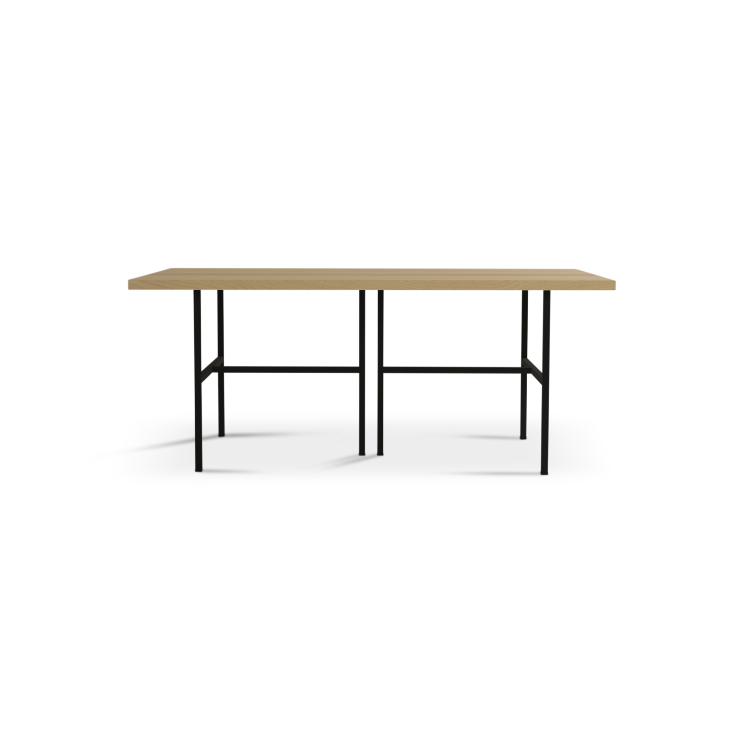Six foot solid ash kitchen table on black metal legs