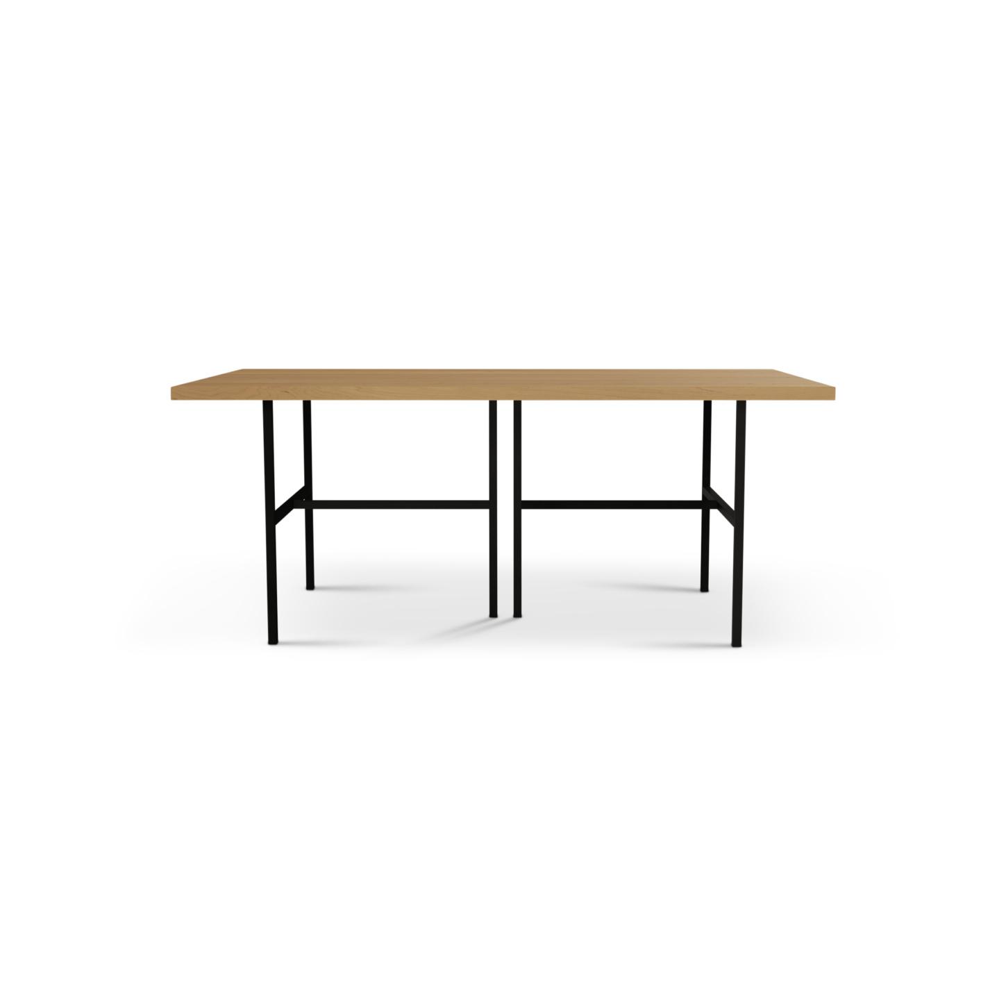Six foot modern cherry dining room table on black metal legs