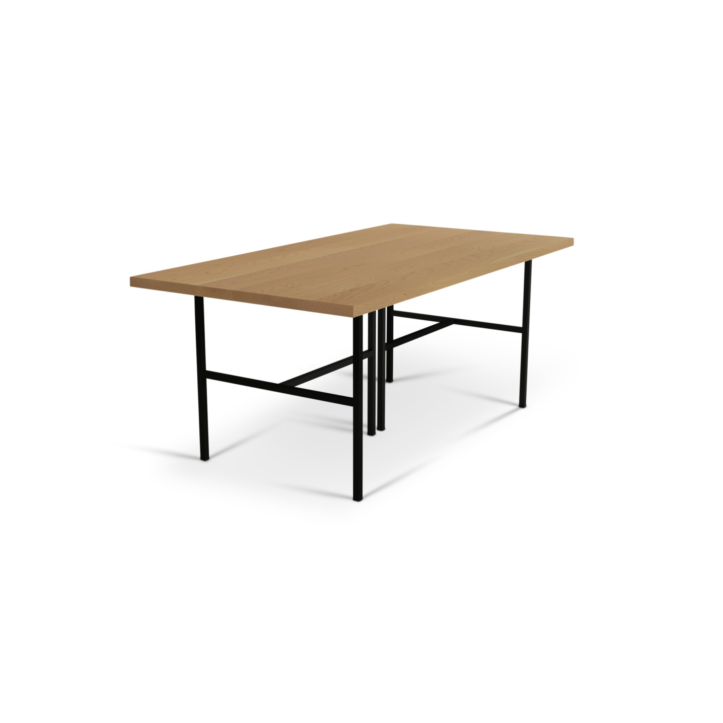Solid cherry kitchen table with black metal legs