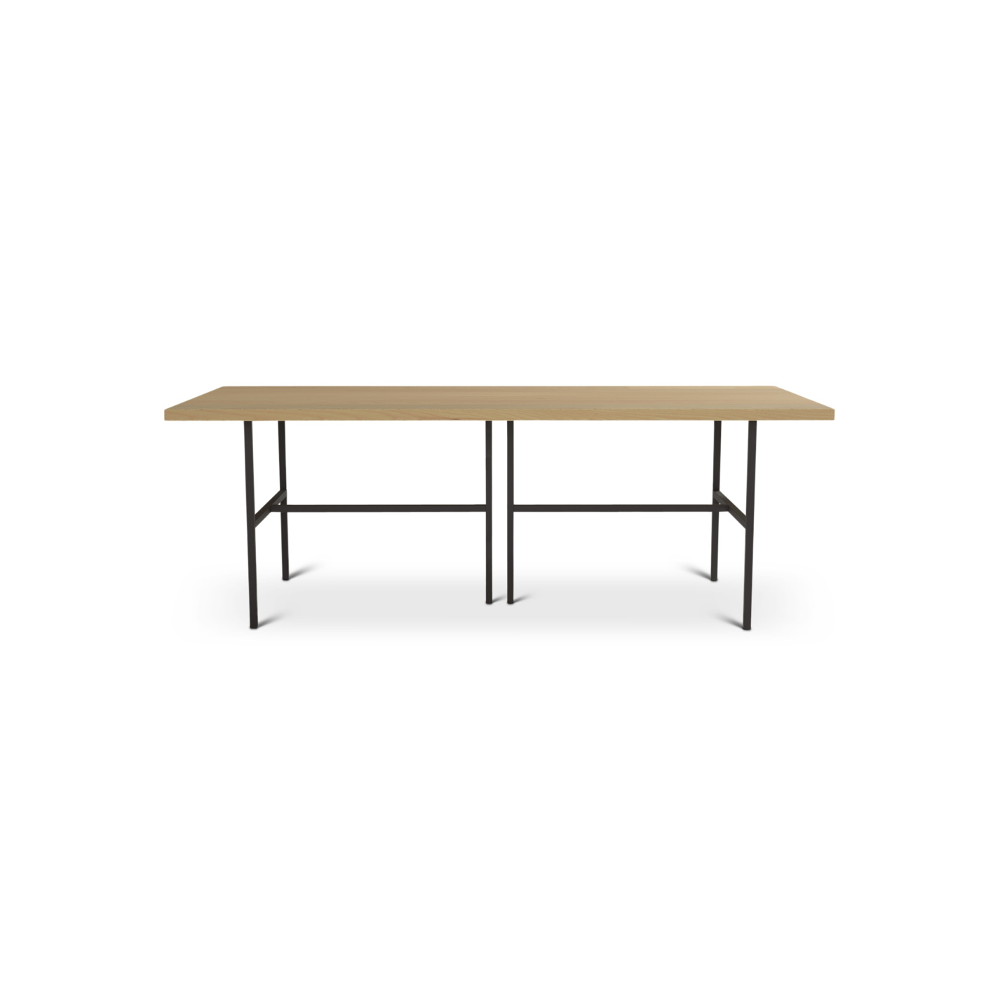 Solid ash dining room table with planks on metals legs