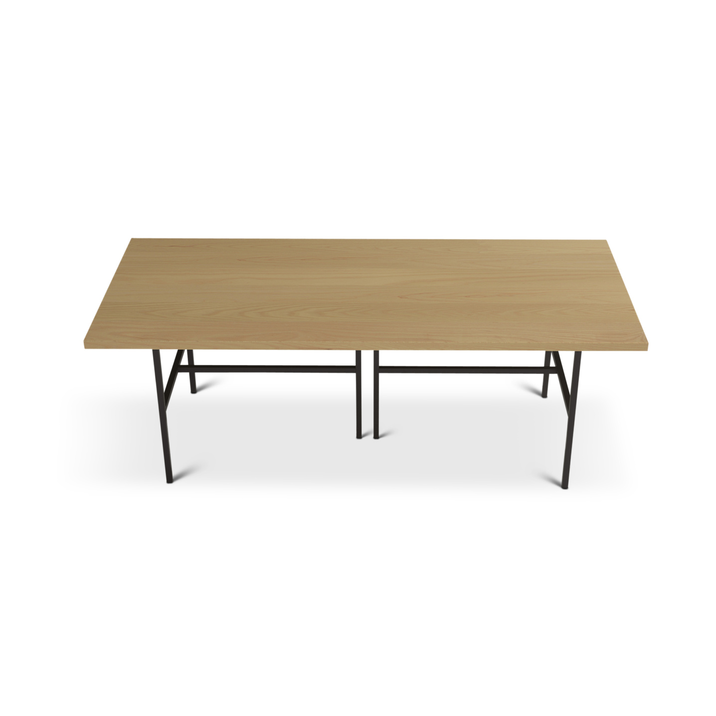 7 foot ash dining room table with black metal legs