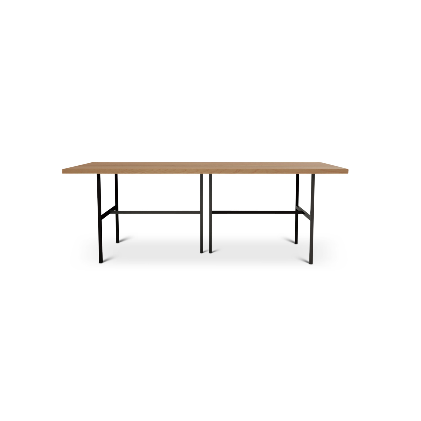 7 foot solid wood cherry dining room table with metal legs