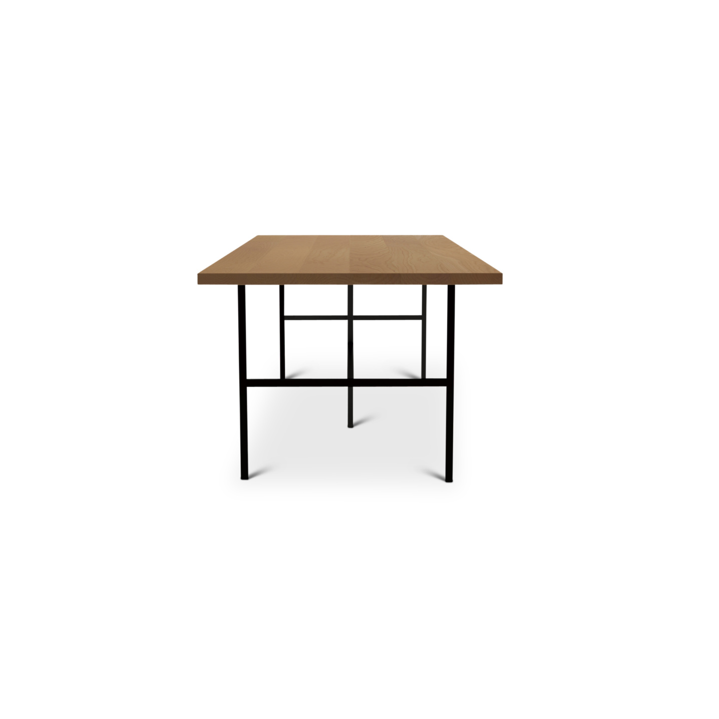 seven foot cherry table with black metal legs