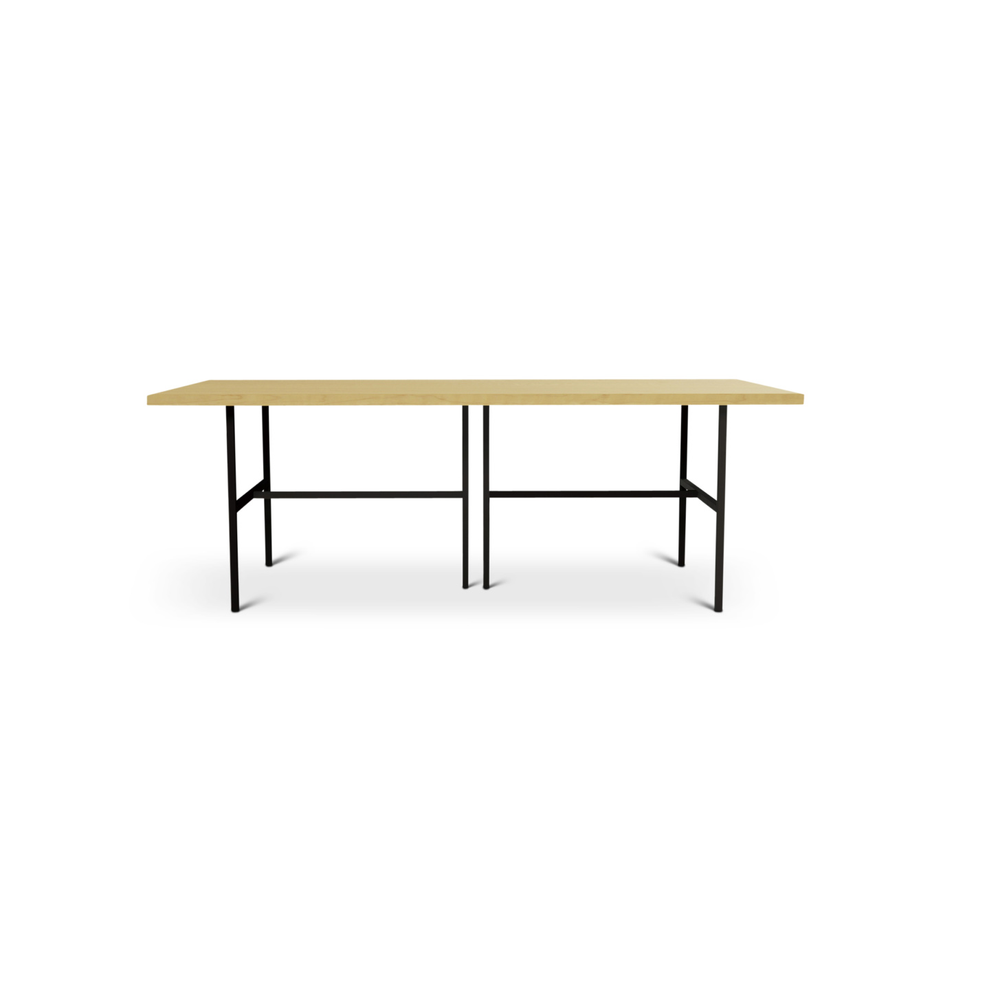Solid maple dining room table with black metal legs