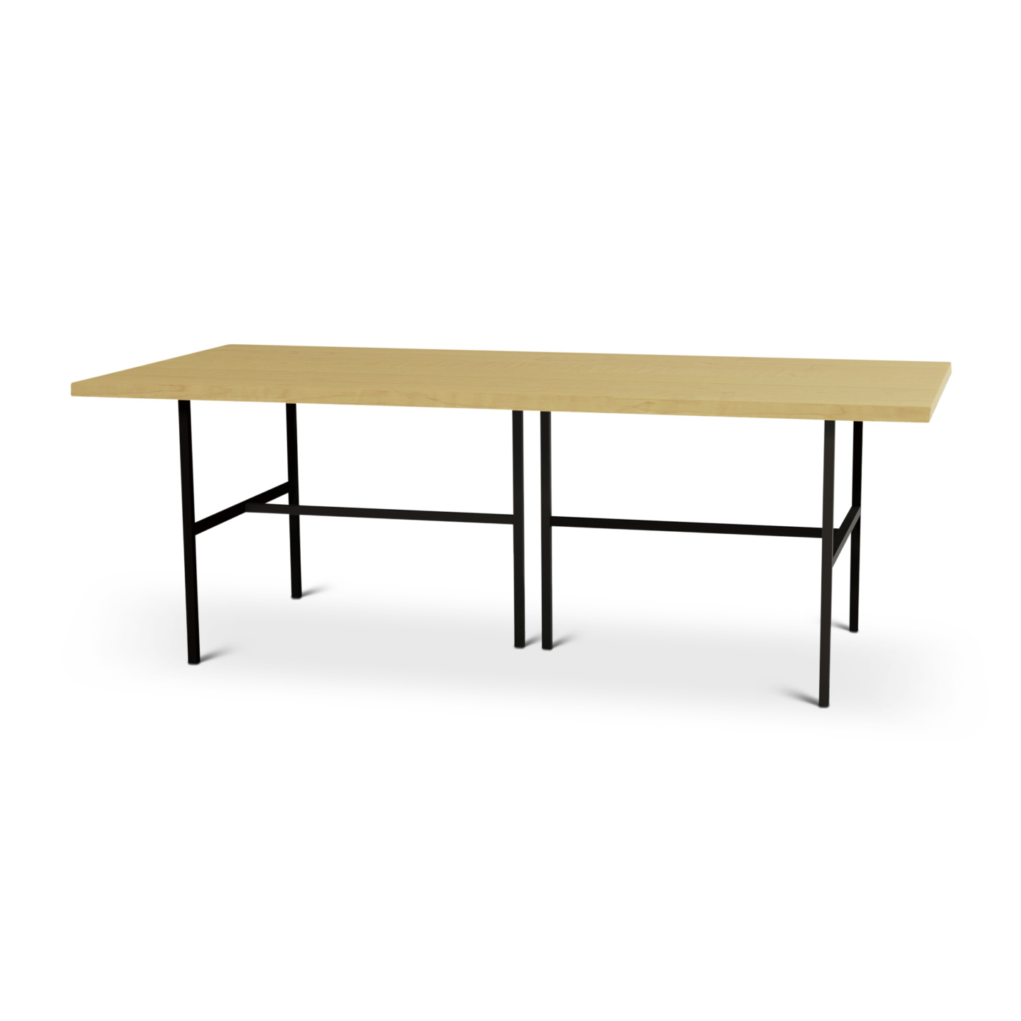 7 foot modern maple table with metal legs