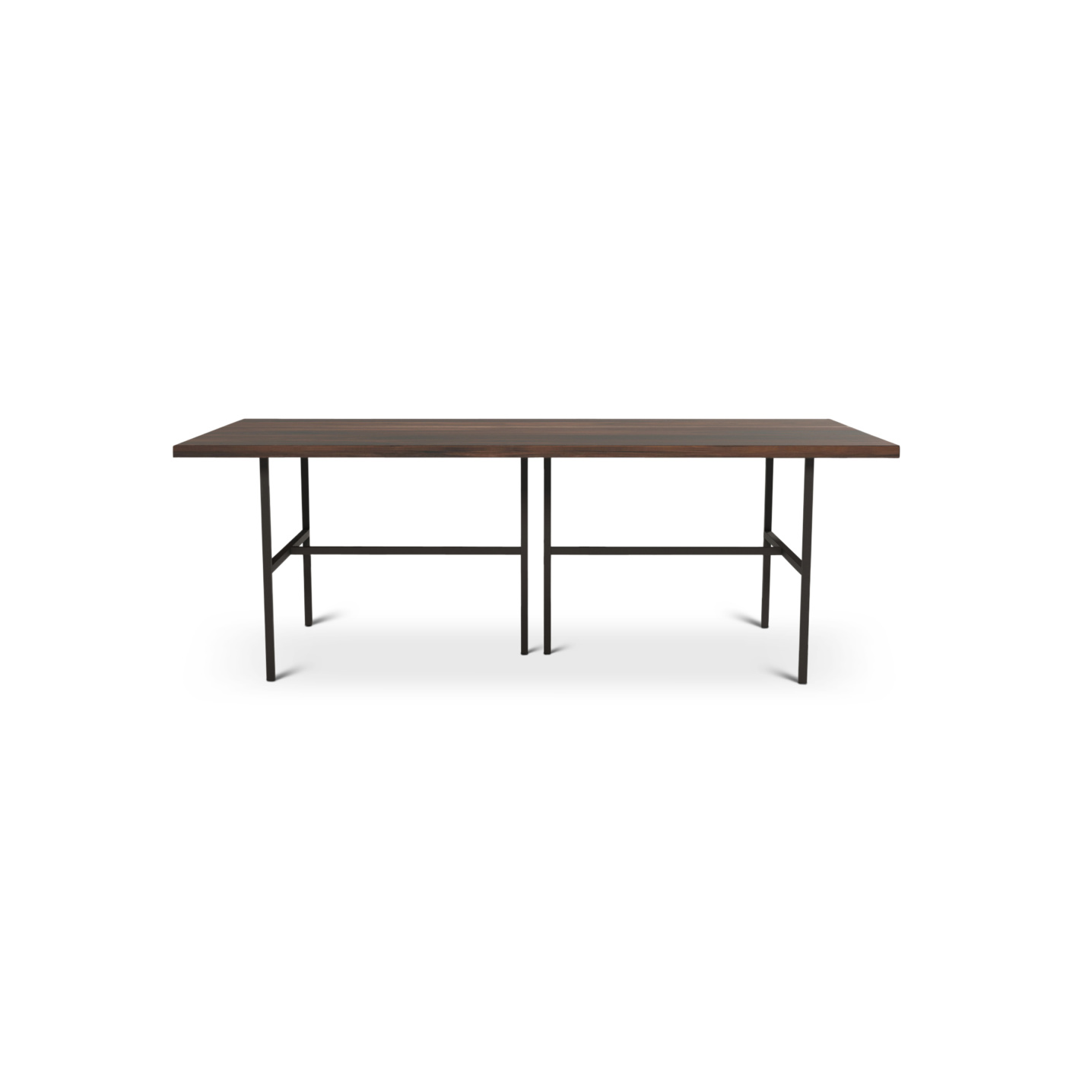 7 foot walnut dining room table with metal legs