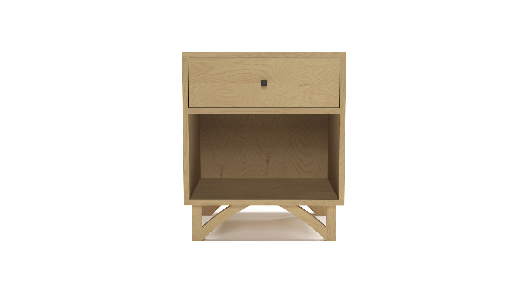 Small solid ash modern night stand with custom hand cut legs