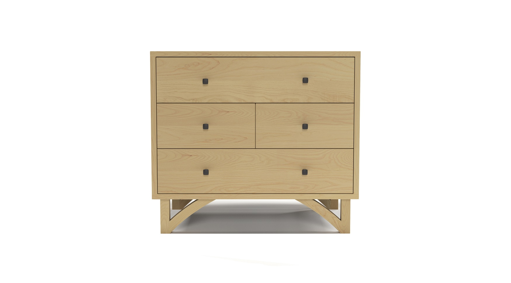 Solid ash modern four drawer night stand with custom hand cut legs