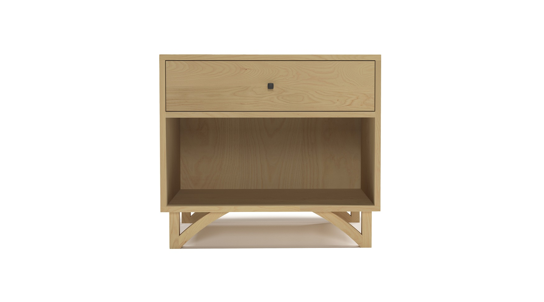 Large solid ash modern one drawer night stand with custom hand cut legs
