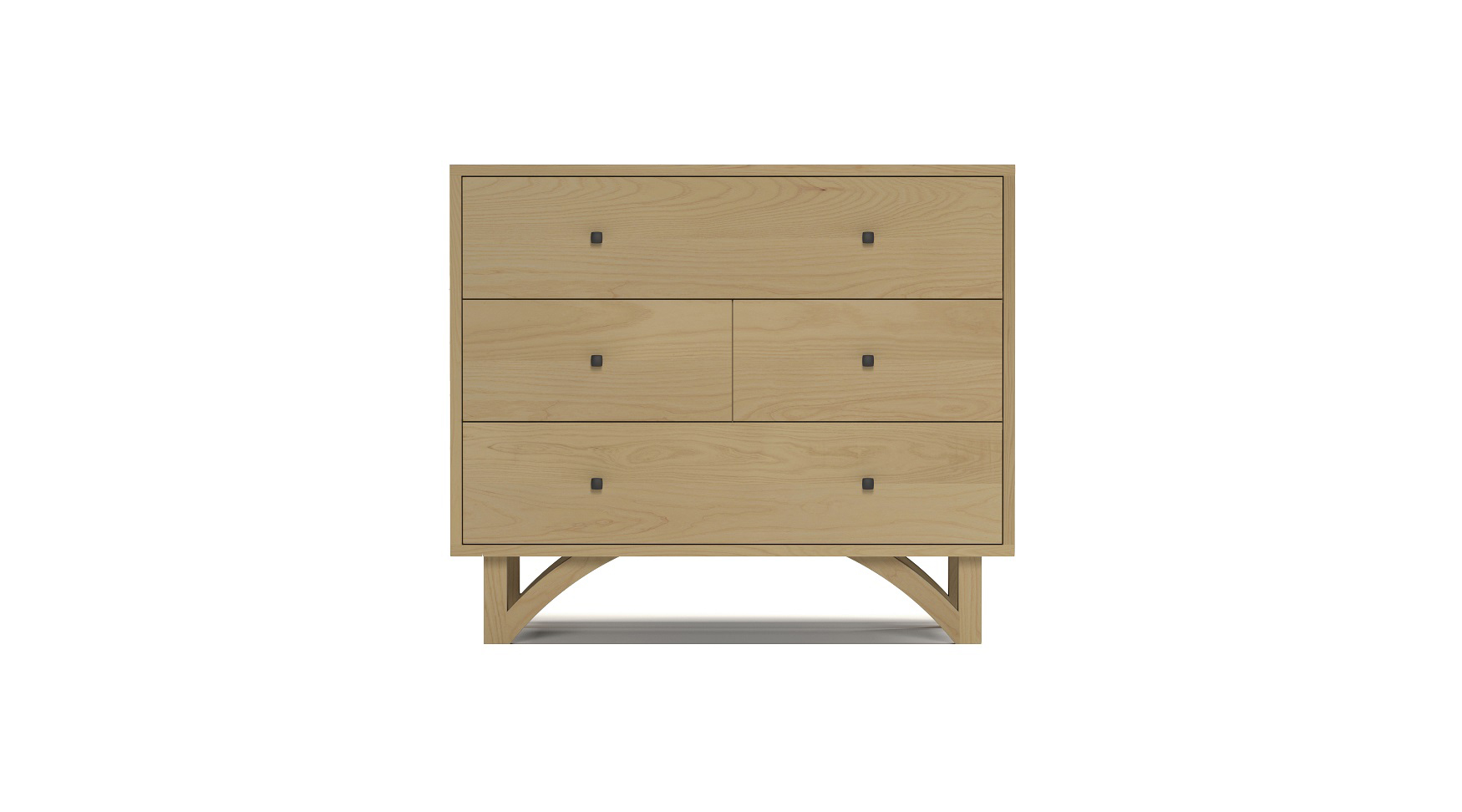 Solid ash modern four drawer dresser with custom hand cut legs