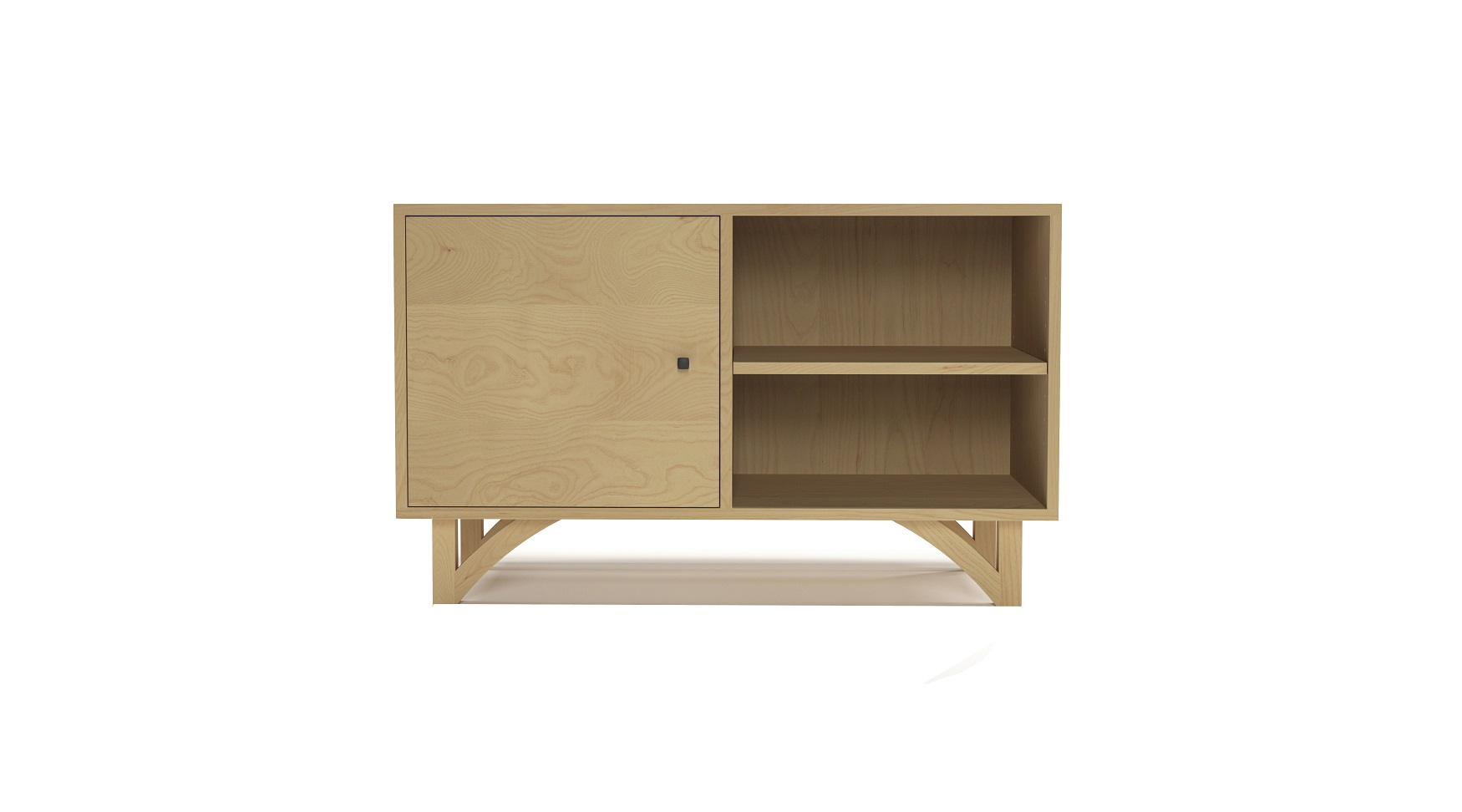 Ash contemporary furniture cabinet with one door and with hand-cut legs