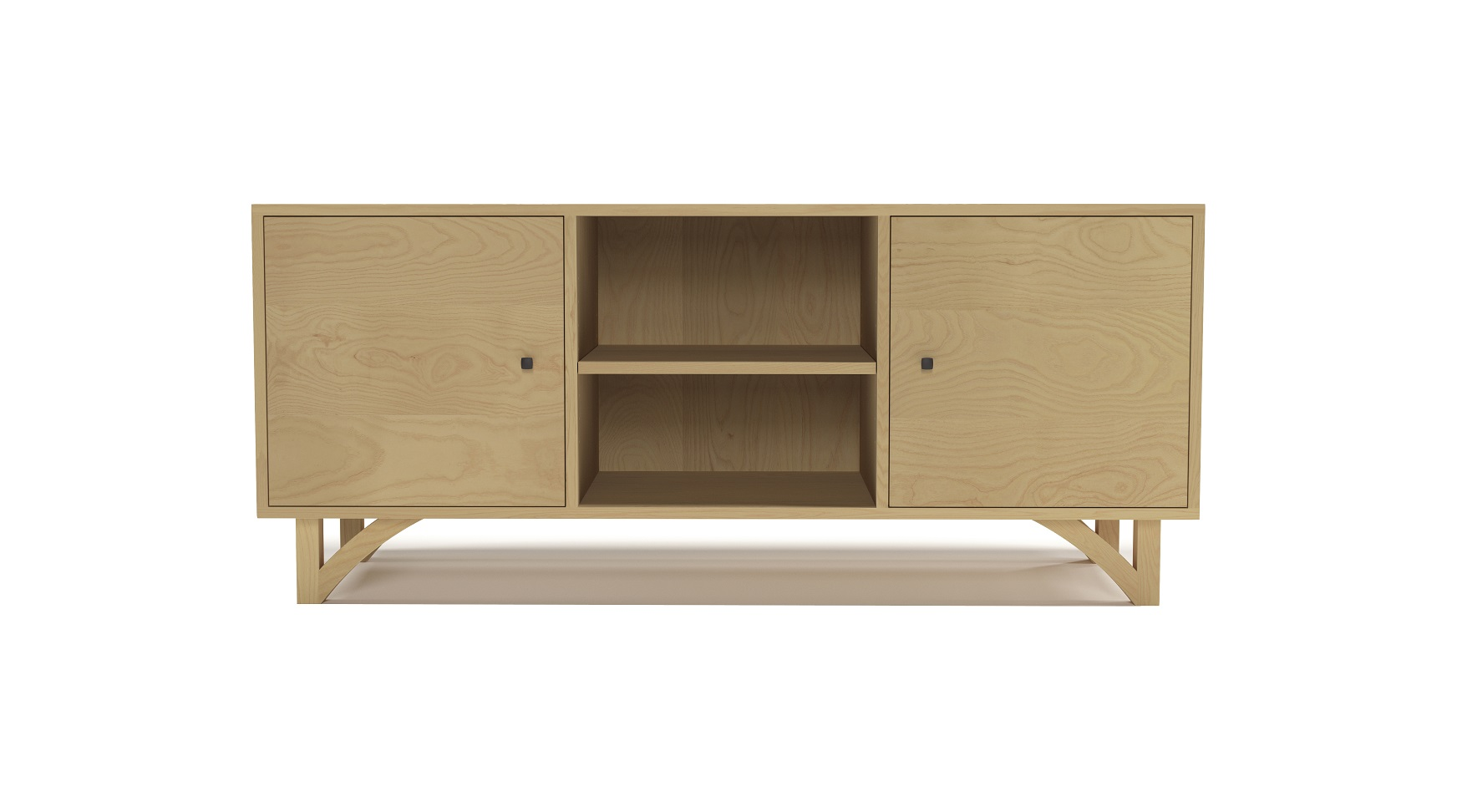 Ash modern furniture media cabinet with two doors and with hand-cut legs