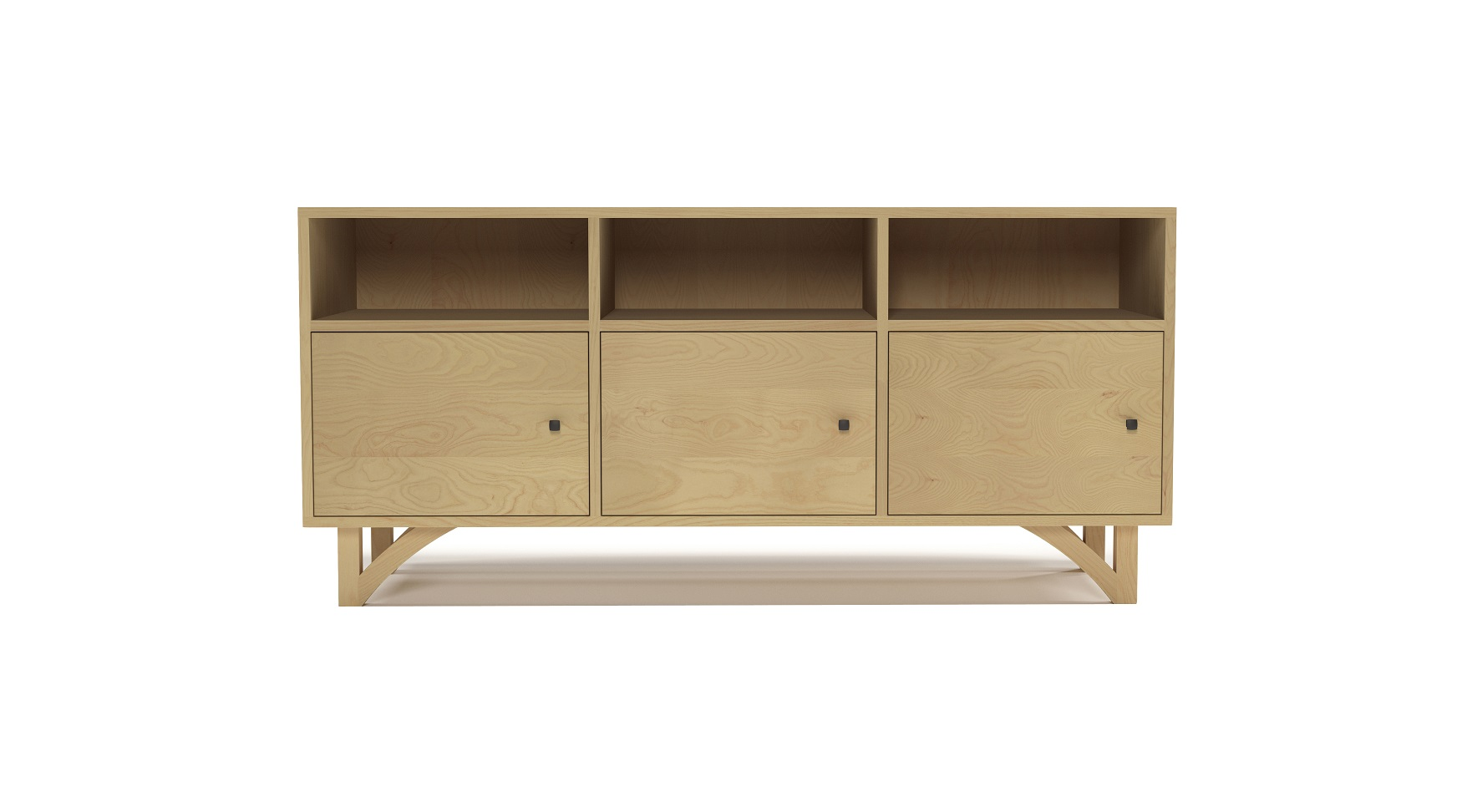 Ash modern furniture media cabinet with three doors and with hand-cut legs