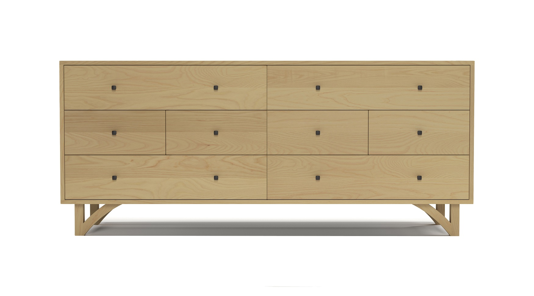 "Solid ash 72"" modern eight drawer dresser with custom hand cut legs"