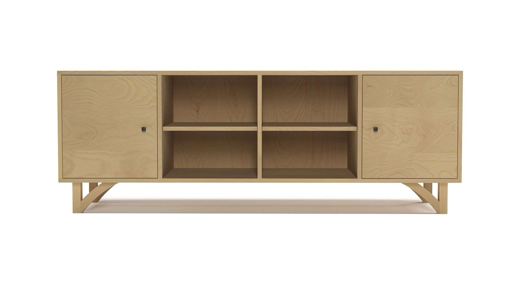 Ash modern furniture cabinet with two doors and with hand-cut legs