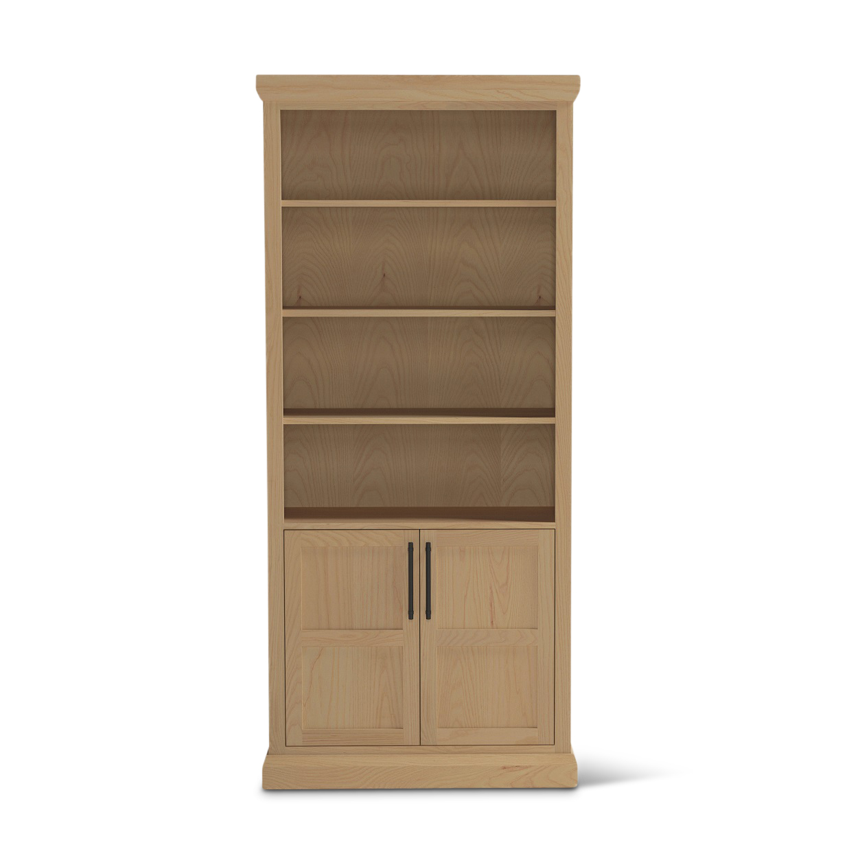 "82"" tall Bureau ash wood contemporary bookshelf with doors"