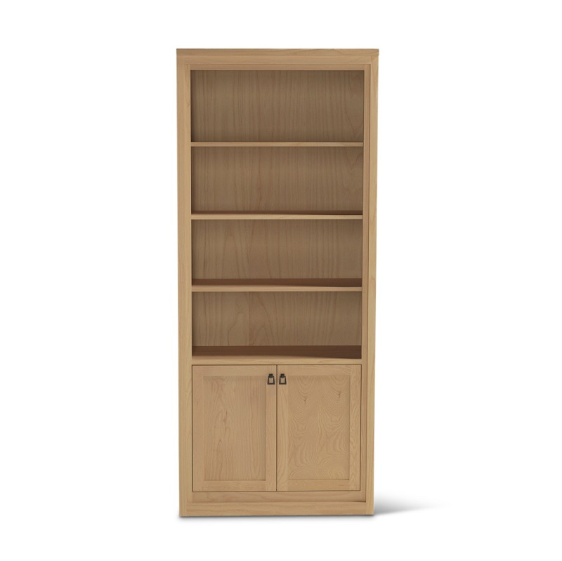 Tall Bureau ash wood contemporary bookshelf with doors