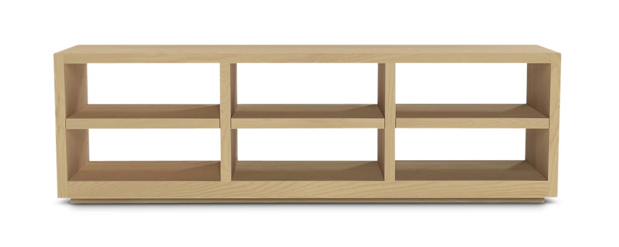 "72"" long oppen maple wood Scandinavian bookshelf with an open back"